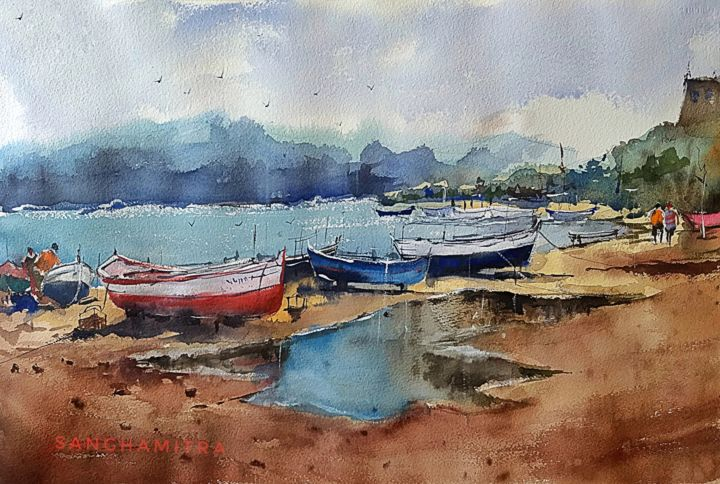 """Painting titled """"Another voyage.jpg"""" by Sanghamitra Roy Majumder, Original Art, Watercolor"""