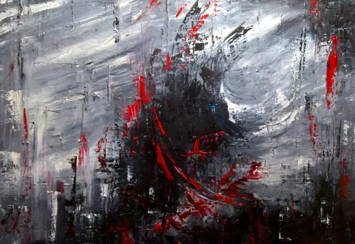 Explosion - Painting,  50x70x2 cm ©2017 by Maka Kvartskhava/Stillwhite -                                            Abstract Expressionism, Abstract Art, red, explosion, abstract, art, contemporary
