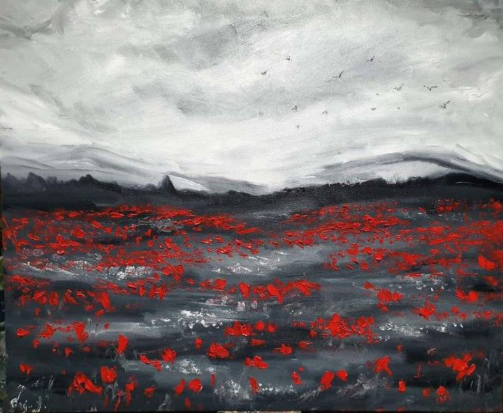 Poppies of Sorrow - Painting,  50x60x2 cm ©2019 by Maka Kvartskhava/Stillwhite -                                                                                            Abstract Expressionism, Art Deco, Contemporary painting, Botanic, Flower, Landscape, poppies, flower, flowers, sky, red
