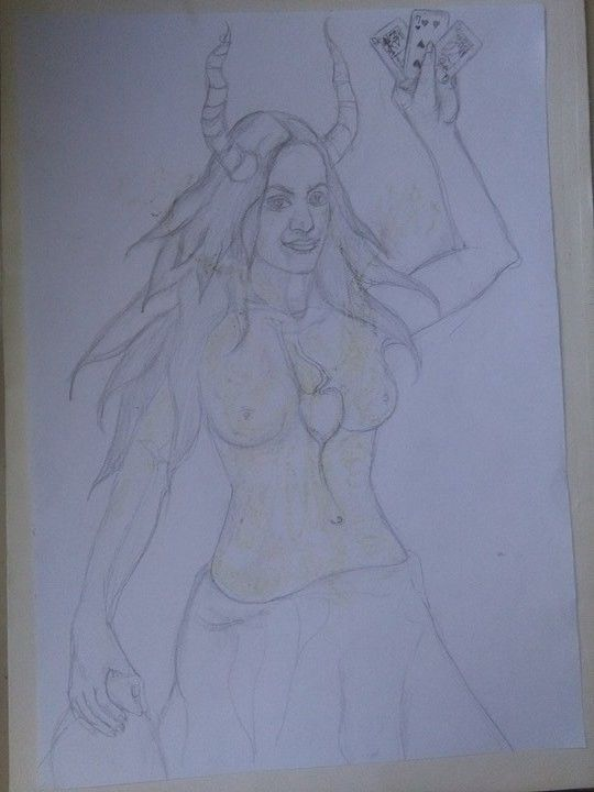 """Drawing titled """"""""The cards told me…"""" by Ljiljana Makcimovich, Original Art, Other"""