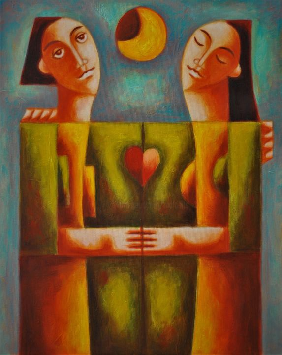 Never ending love / Amour sans fin - Painting,  19.7x15.8x0.8 in, ©2017 by Zsolt Malasits -                                                                                                                                                                                                                                                                                                                                                                                                                                                                                                                                                                                                                                                                                                                                                                                                                                                                                                                                                                                                                                                  Figurative, figurative-594, Fantasy, Geometric, Love / Romance, Men, Portraits, zsolt malasits, vamosiart, peter vamosi vamosiart, www.vamosiart.com, love, lovers, harmony, harmonious, romantic, spiritual, lovemaking, heart, moon, night, night sky
