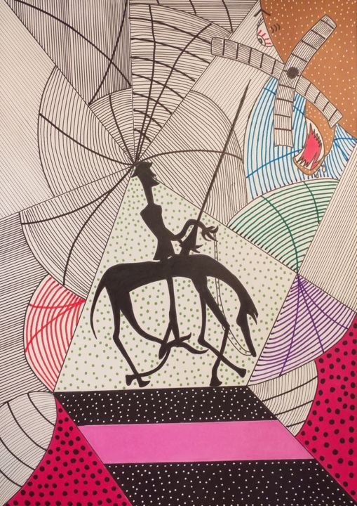 """Drawing titled """"Don Quichotte face…"""" by Philippe Lefever, Original Art, Marker"""