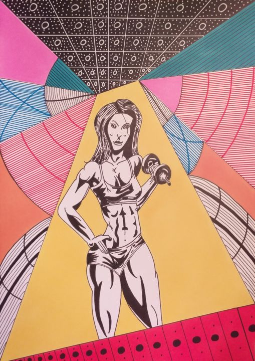 """Drawing titled """"Corpus Delicti"""" by Philippe Lefever, Original Art, Marker"""