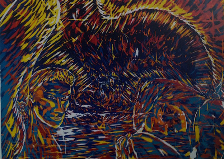 Gaia and Time Twin - Printmaking,  21x32 in, ©1996 by Male Beauty Forum Lifestyle -                                                                                                                                                                                                                                                                      Symbolism, symbolism-1020, Spirituality, Shamanic, artworks
