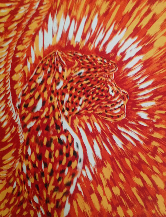 Cheetah Totem Spirit - Printmaking,  32x21 in, ©1996 by Male Beauty Forum Lifestyle -                                                                                                                                                                                                                                                                                                                                                                                                          Symbolism, symbolism-1020, Spirituality, Cheetah, silkcreen, artwork, shamanic, totem spirit