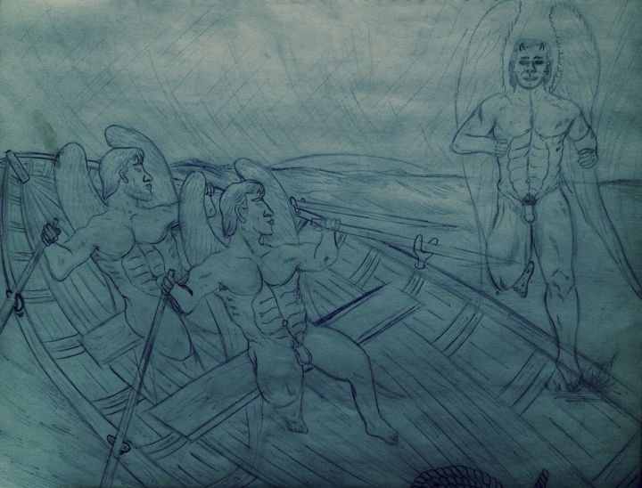 Drawing of Twin Rowers and messenger - © 1997 male nude, drawing Online Artworks