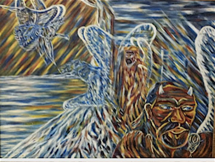 Three Coast Guard Totem Staff Members - Painting,  25x32x0.3 in, ©1988 by Male Beauty Forum Lifestyle -                                                                                                                                                                                                                          Symbolism, symbolism-1020, Spirituality, shamanism