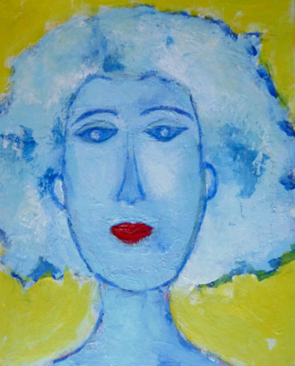 Portrait 3 - Painting,  41x33x2 cm ©2014 by Chantal Malet -                                        Figurative Art, Portraits
