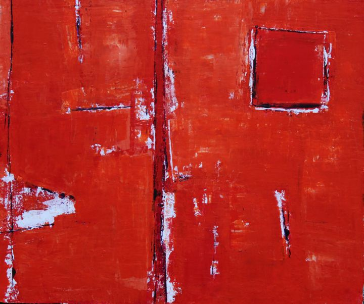 Série Rouge - Painting,  46x55x2 cm ©2015 by Chantal Malet -                                                            Abstract Art, Canvas, Abstract Art, Tableau de couleur Rouge