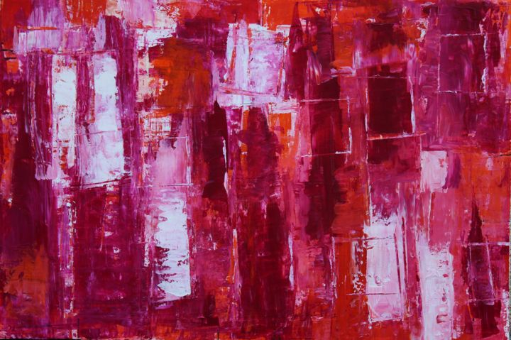 Série Rouge - Painting,  54x81x2 cm ©2015 by Chantal Malet -                                                            Abstract Art, Canvas, Abstract Art, Tableau de couleur Rouge