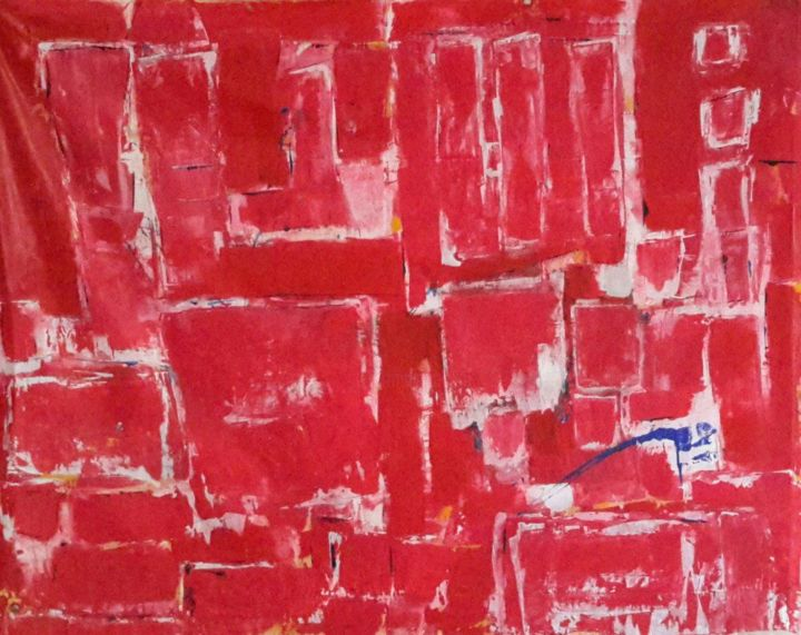 Série Rouge - Painting,  150x190 cm ©2016 by Chantal Malet -                                                            Abstract Art, Canvas, Abstract Art, Rouge