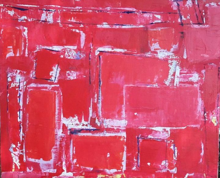Série Rouge - Painting,  54x65x2 cm ©2016 by Chantal Malet -                                                            Abstract Art, Canvas, Abstract Art, La couleur rouge