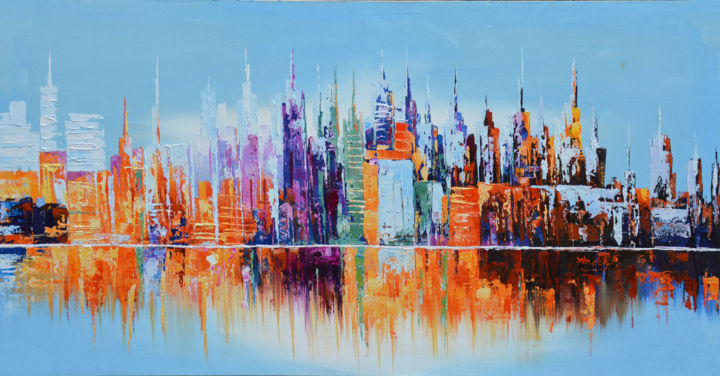 """Painting titled """"City by the Waters"""" by Malinga Kumarasinghe, Original Art, Acrylic Mounted on Stretcher frame"""