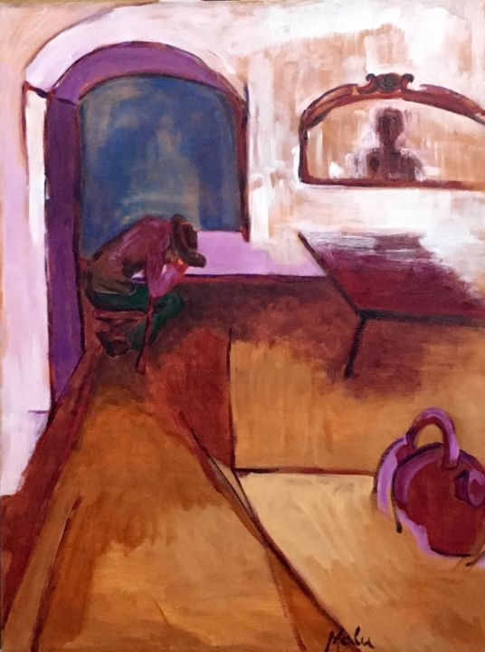 Dormido na Tasca/ Sleeping in the Tasca - Painting,  36x24x1 in, ©2019 by Malu Ribeiro -                                                                                                                                                                                                                                                                                                                                                                                                                                                                              Interiors, People, Time, bohemian, nightlife, tavern, drinking, folkloric, pictoresque, solitude