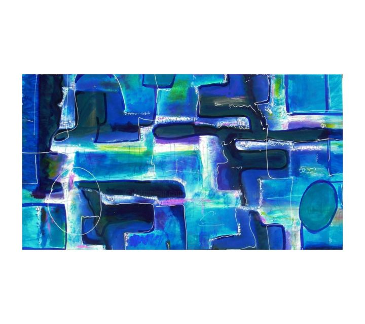 Untitled blue - amamede´s painting (Sem título - Pintura de amamede) - Painting,  80x145 cm ©2014 by amamede -                            Abstract Art, Untitled blue, amamede´s painting, mamede, albuquerque, lima, galeria, artmajeur, mixed media on canvas