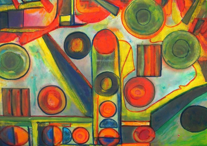 Traffic lights - amamede´s painting - Painting,  20.5x28.4 in, ©2014 by Amamede -                                                                                                                                                                                                                                                                                                                                                                                                                                                                                                                                          Abstract, abstract-570, Traffic lights, amamede´s painting, Semáforos, mamede, albuquerque, lima, galeria, artmajeur, mixed media on canvas