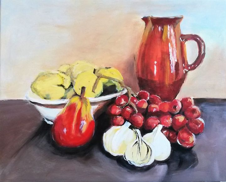 Nature morte au pichet#artistsupportpledge - Painting,  15x18.1x0.6 in, ©2017 by Marie-José Campos -                                                                                                                                                                          Expressionism, expressionism-591, Still life