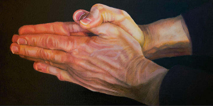 """Painting titled """"My husband's hands"""" by Manon Germain, Original Art, Oil"""