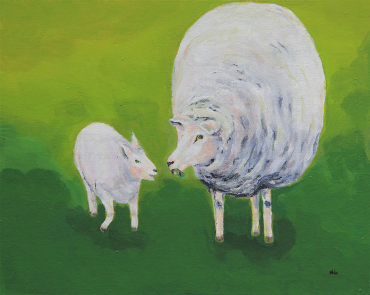 Maternal Love - Painting,  30x0.5x24 cm ©2014 by Mandy Leung -                            Abstract Expressionism, Sheep, Animal, Love, Maternal Love, Livestock, Acrylic