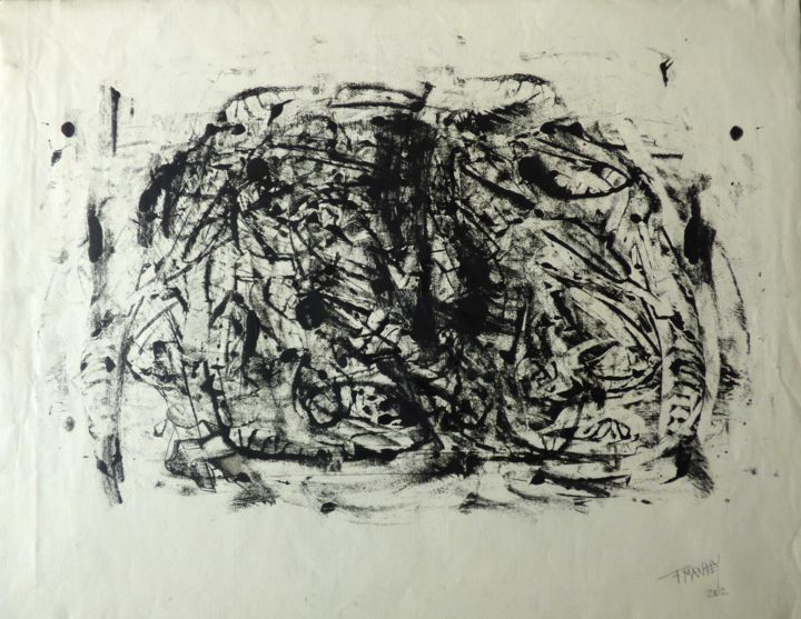 """""""Encre,2012"""" - Drawing,  19.1x24.8 in, ©2012 by f m -                                                                                                                                                                          Abstract, abstract-570, Abstract Art"""