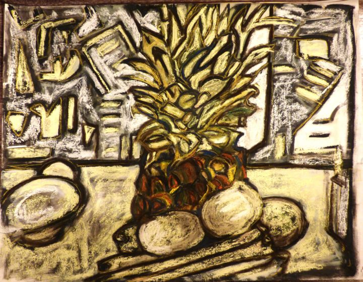 """Nature morte à l'Ananas"" 2018 - Painting,  65x50 cm ©2018 by Frederique Manley -                                                        Abstract Expressionism, Paper, Still life"
