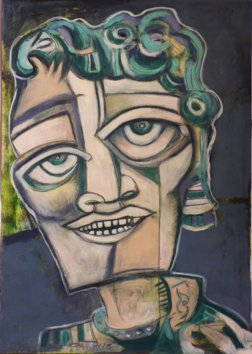 """""""smile, but so sad"""" - Painting,  42x29.7 cm ©2018 by Frederique Manley -                                                            Abstract Expressionism, Paper, Portraits, sad, smile"""