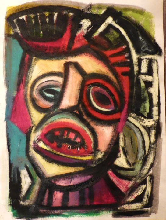 """Portrait d'octobre 2018"" - Painting,  32x23.7 cm ©2018 by Frederique Manley -                                                            Abstract Expressionism, Paper, Abstract Art, PORTRAIT, 2018"