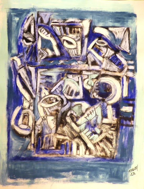 """Blue BLUES"" - Painting,  58x42 cm ©2018 by Frederique Manley -                                                            Abstract Expressionism, Paper, Abstract Art, blues"