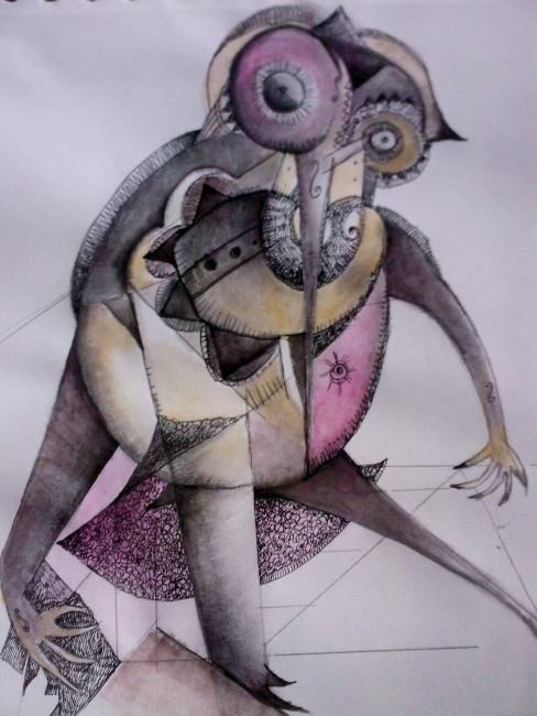 insecte - Drawing,  16.5x11.4 in, ©2008 by frederique manley -                                                                                                                                                                                                                                                                                                                  Abstract, abstract-570, Abstract Art, lavis, crayon, gouache