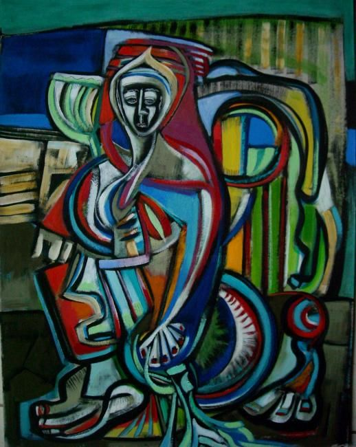 toute ma vie je t'attendrai - Painting,  27.6x19.7 in, ©2011 by Frédérique Manley -