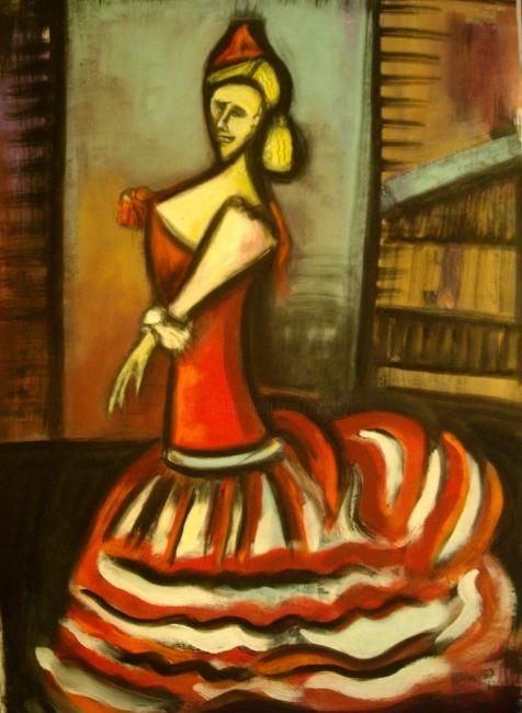 """flamenco"" - Painting,  16.5x11.4 in, ©2012 by Frédérique Manley -"