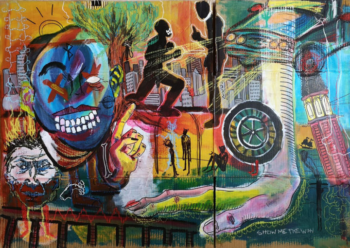 Madness Immobile - Painting,  26.4x38.6 in, ©2018 by Manon Tanzilli -                                                                                                                                                                                                                                                                                                                                                                                                                                                                                                                                                                                                                                                                                                                                                                                                                                                                                                                                                                                                                                                      Outsider Art, outsider-art-1044, Pulpboard, Architecture, Body, Men, Landscape, Cityscape, personnage, figuratif, brut, portrait, mains, ville, paysage, combat, voiture, monstre, clocher, corps, emotion, détail