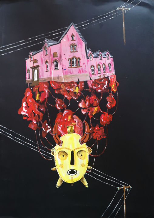 The House on the Meat - Painting,  25.6x19.7 in, ©2019 by Manon Tanzilli -                                                                                                                                                                                                                                                                                                                                                                                                                                                                                                                                                                                                                                                                                                                                                                                                                                                                  Figurative, figurative-594, Men, Home, Nature, Spirituality, viande, organique, organic, peinture, acrylqiue, paint, acrylic, meat, house, maison, masque, mask