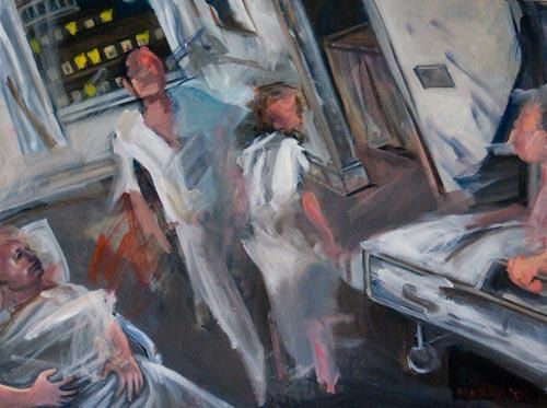 """Painting titled """"The Hospital at 4 am"""" by manrydouglas, Original Art, Oil"""
