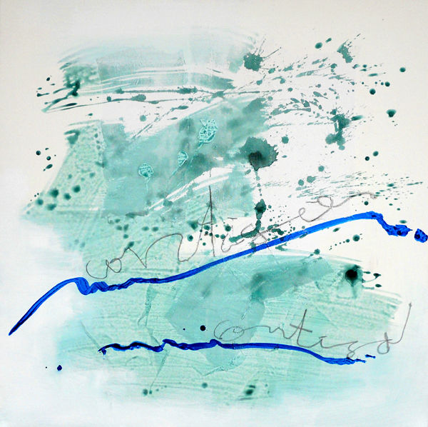 La Mer - Painting,  100x100 cm ©2010 by Maria Antónia Santos -                                                        Contemporary painting, Canvas, Abstract Art