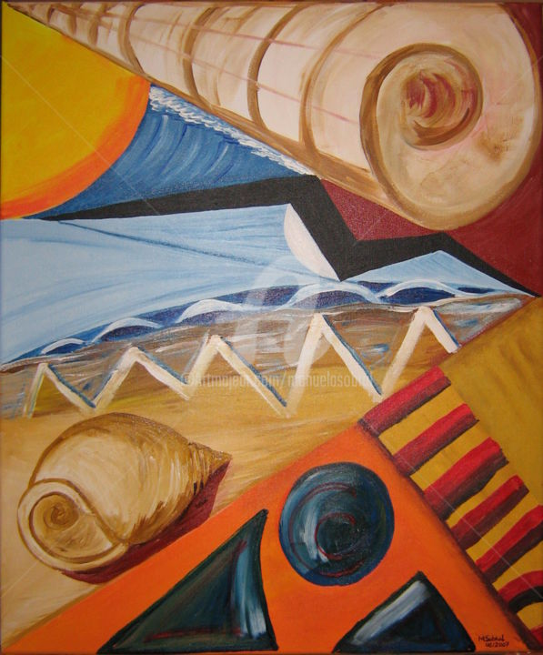 Holidays - Painting,  24x20.1x0.4 in, ©2007 by MANUELA SOBRAL -                                                                                                                                                                          Cubism, cubism-582, Seascape