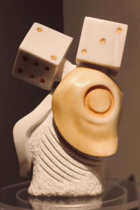 Backgammon, sculpture in a single Pentelic marble - Sculpture,  15.8x9.8x7.9 in, ©2006 by Manuel r surrealist -                                                                                                                                                                                                                                                                                                                                                                                                                                                                                                                                                                                                                                                                                                                                  Expressionism, expressionism-591, Stone, World Culture, Culture, manuelmykonos, manuelsurrealist, mykonosart, greeksurrealism, sculptsurrealism, sculptingmanuel, sculptartwork, OutsiderArt, daliesque, backgammon