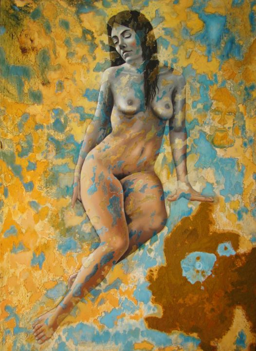 Ramona 20years after 2007 oil painting - Painting,  59.1x39.4x1.6 in, ©2014 by Manuel r surrealist -                                                                                                                                                                                                                                                                                                                                                                                                                                                      Surrealism, surrealism-627, Nude, manuelsurrealist, manuelmykonos, daliesque, mykonosart, ramona20yearsafter, oilpainting