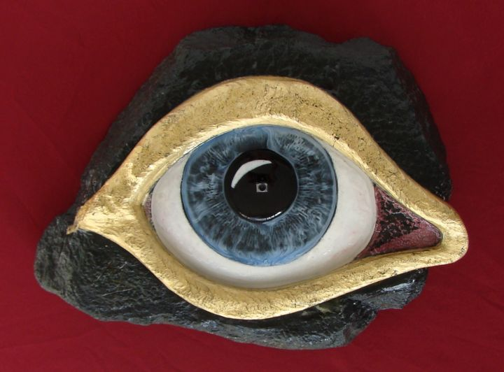 The Eye of Selfie 2015 surreal sculpture - Sculpture,  17.7x23.6x5.9 in, ©2015 by Manuel r surrealist -                                                                                                                                                                                                                                                                                                                                                                                                                                                                                                      Surrealism, surrealism-627, Stone, Fantasy, The Eye of Selfie 2015, sculptsurrealism, manuelsurrealist, manuelmykonos, mykonosart, daliesque