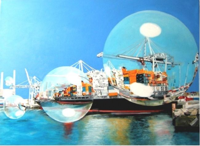 BULLES EXPRESS - Painting,  21.3x28.4 in, ©2007 by MANU SURREABULLISTE -