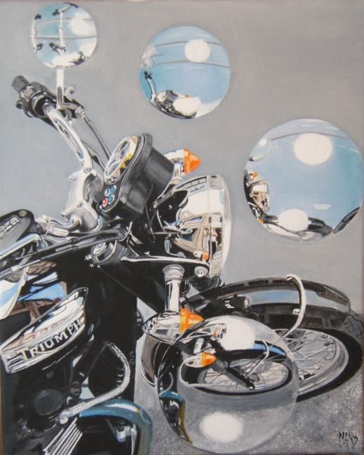 triomphe des bulles - Painting,  16.1x13 in, ©2008 by MANU SURREABULLISTE -