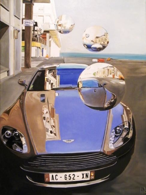 AM bulles - Painting,  27.6x21.3 in, ©2009 by MANU SURREABULLISTE -                                                              ASTON MARTIN rue Edouard LAng au Havre