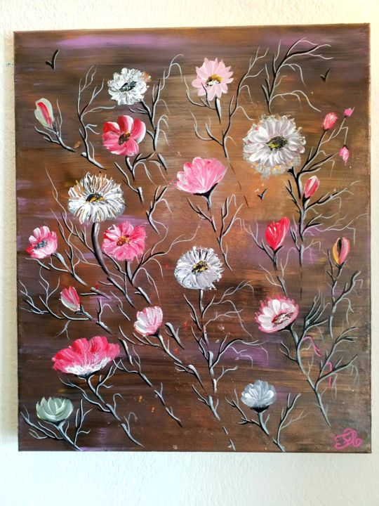 Fleurs que j aime - Painting,  21.7x18.1x0.8 in, ©2019 by Florence Castelli  Flofloyd -                                                              Flower