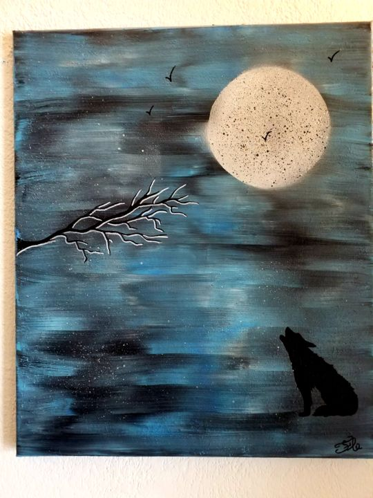 Le loup - Painting,  21.7x18.1x0.8 in, ©2019 by Florence Castelli  Flofloyd -                                                              Animals