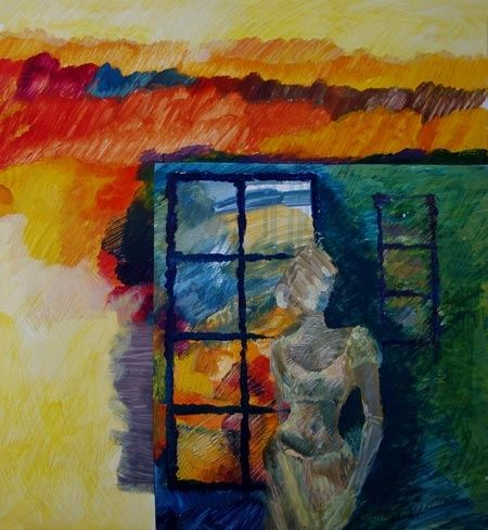 """Painting titled """"lady in abstract"""" by Maqbool Ahmed, Original Art,"""