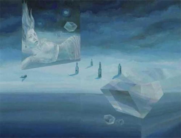conceptual blocks - Painting,  36x48 in, ©2004 by Maqbool Ahmed -                                                                                                                                                                          Surrealism, surrealism-627, woman with conceptual crystal blocks