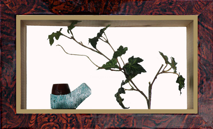 GENESE - Painting,  7.1x13x3.2 in, ©2017 by André Maquestiau -                                                                                                                                                                                                                                                                      Surrealism, surrealism-627, Nature, Pipe, naissance