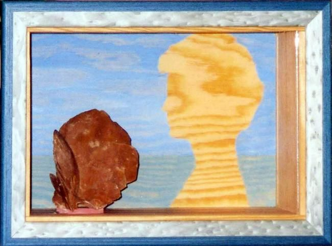 La Florentine - Painting,  19x29 cm ©2003 by André Maquestiau -                            Surrealism, Collection Florence Silvestri - Bruxelles