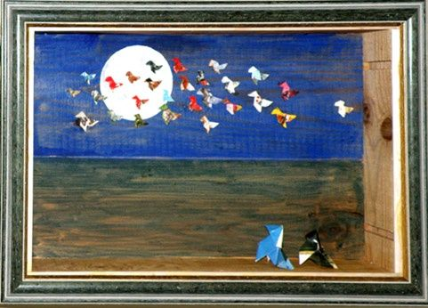 Au clair de la Lune - Painting,  13.8x23.6 in, ©2006 by André Maquestiau -