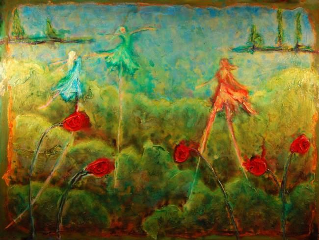 Pollination - Painting,  36x48 in ©2008 by Marabeth Quin -                            Contemporary painting, acrylic  impressionist  mythical figures colorful